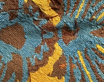 Antique silk tapestry late 1800s, armchair sample, yellow, blue brown floral print, upholstery, cushion, vintage textile