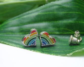 Heart Rainbow Stud Earrings, girls Earrings, rainbow studs , girls birthday gift, fashion accessories, stud earrings