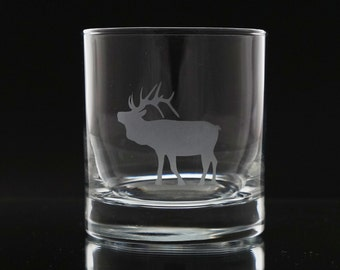 Elk Whiskey Glass- Etched Whiskey Glass- Scotch Glass- Elk Barware- Etched Glass Gift - Etched Glass - Gift for Him - Whiskey Gift