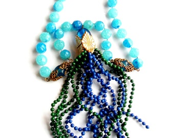 Vintage Chunky Plastic Tassel Necklace Over The Top Blue Green Gold Focal Statement Filigree Marbled