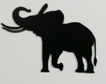 Elephant 1 Silhouette - Metal Wall Art - With Hanger - (MM1---)