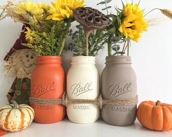 Fall Mason Jars Decor Jar Centerpiece Distressed