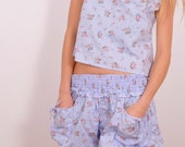 On S A L E  25% off  B L O O M E R S / /in blue, with pink roses (top not included) women's pajama etsy uk sizes 8 10 12 14 summer festival