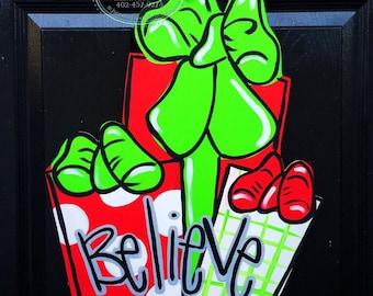 Christmas Door Hanger- Present Door Hanger, Believe Door Decor, Holiday Door Decor