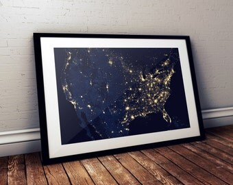 Usa Map Art Etsy - Us map picture frame