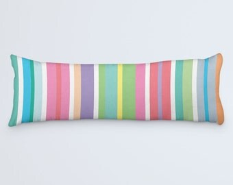 Colorful Large Pillow, Stripes Body Pillow, Body Pillow Cover, Modern Bed Clothes, Pink Pillow, Candy Stripes Pillow, 20x54 Body Pillow