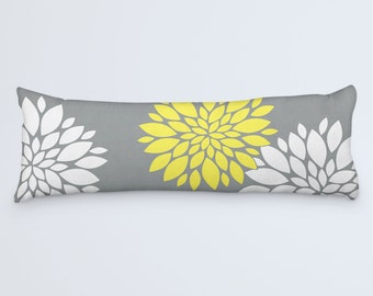 Floral Body Pillow, Grey Yellow Cushion, Large Long Pillow, Flower Bed Clothes, White Yellow Pillow, 20x54 Pillow Cover, Body Pillow Case