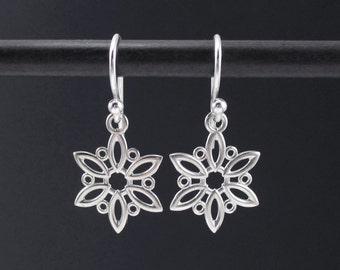 Snowflake Earrings Sterling Silver 925 Filigree Dangle Drops