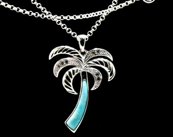 Larimar Natural Palm Tree with White Sapphire Accents .925 Sterling Silver