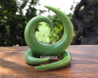 """Jade Green Spirals 10g 8g 6g 4g 2g 0g 00g 7/16"""" 1/2"""" 9/16"""" 5/8""""  2.5 mm 3 mm 4 mm 5 mm 6 mm 8 mm 10 mm - 16 mm"""