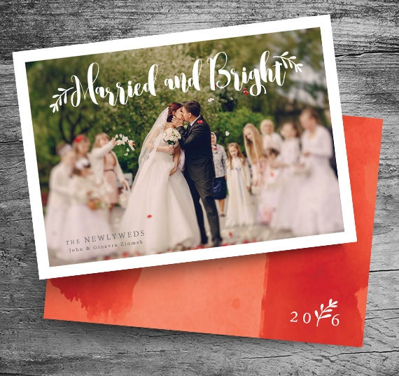 married and bright holiday card christmas card wedding holiday