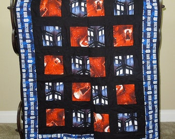 "BBC Doctor Who Quilt - 52.5"" X 53.5"" - Blue, orange, black with a flannel Doctor Who backing. Man Gift, Dr Who Fan, Phone Booth, Tardis"