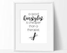 Hairstylist Art Print - Beauty Salon Decor - Hairdresser - Beautician Wall Art - Scissors Art Print