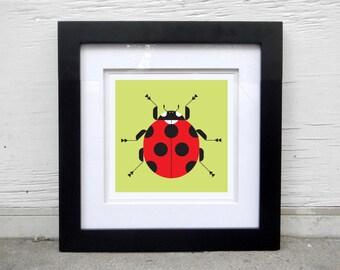 Ladybug modern art print and wall art for the home, office, kids room. Ladybug print, insect illustration, ladybug art print, poster series