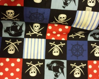 1 metre pirate skull and crossbones fabric