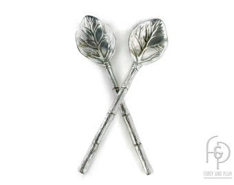 Salad Tossing Set Faux Bamboo Handle and Leaf  Cast Metal.