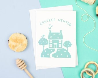 Welsh Gifts. Welsh Card. Cartref Newydd Card. Welsh New Home Card. Welsh Language Card. Welsh Home