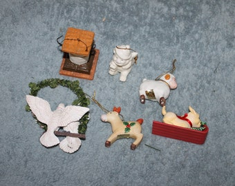 6 Vintage Ornaments For The Christmas Tree & Holiday Season Decorating, Lamb, Puppy on Sled, Two Sparkly Doves Kissing on a Wreath, Plus