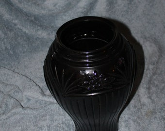 Vintage Black Heavy Vase for Grasses or Dried Flowers or Fake Flowers, It is Huge and Beautiful, Has Embossed Decoration, Home Decor, NICE
