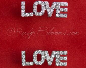 Bridal Earrings. Crystal Love Sign Wedding Earrings. Bridesmaids Earrings. Wedding Bridal Accessories, Post Earrings Jewelry, Ruby Blooms