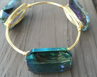 Large Iridescent Rainbow Prism Wire Wrapped Stackable Bangle, Rainbow Prism, Rainbow Bangle, Wire Bangle, Stackable, Southern