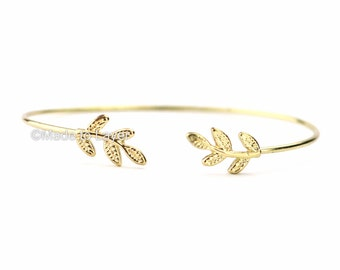 Leaf Layer Bangle Layering Layered Dainty Bracelet Simple Wedding Bridemaid Gift Minimalistic Jewelry Thin Modern Gold Birthday Gift FTEWAP