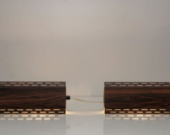 Two vintage retro bedside lamps with wood grain pattern