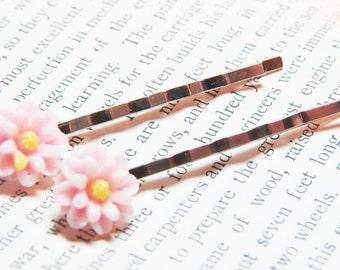 Daisy Bobby Pins - Pink Bobby Pins - Light Pink Daisy Bobby Pins- Set of Two - Pink Flower Bobby Pins - Flower Hair Pins - Pink Bobby Pins