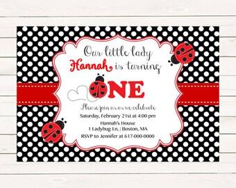 Ladybug Invitation, Ladybug Birthday Invitation, Printable Digital JPEG PDF Printable
