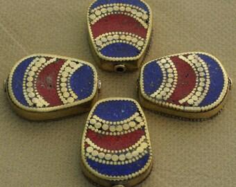 4 Beads  - Brass Tibetan Nepalese Handmade Lapis Coral Inlaid Nepali Tibet Nepal B64