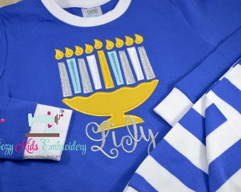 Christmas Hanukkah pajamas boy girl kid child embroidery applique custom name monogram menorah