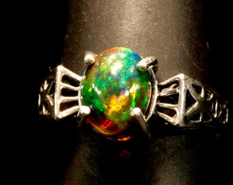 Art Deco style Black Opal Engagement ring.  Solid Black Ethiopian opal.  Available in Gold or Silver.