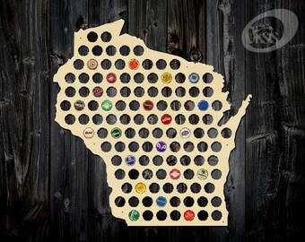 Beer Cap Map, Wisconsin Beer Cap Map, Beer Cap Holder, Gift, gift for the beer aficionado, wall art, beer gifts, decor, christmas gift, beer