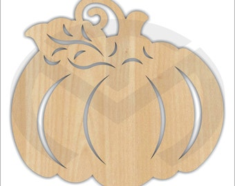 Unfinished Wood Pumpkin with Laser Cut Design, Wreath Accent, Door Hanger, Ready to Paint & Personalize, Various Sizes
