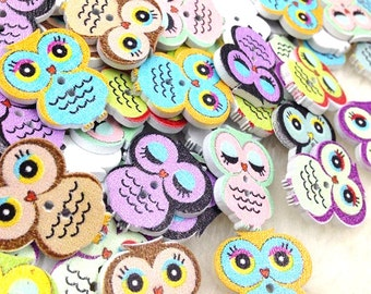 New 100pcs Owl Wood Round Buttons 19*21mm Sewing Craft WB253