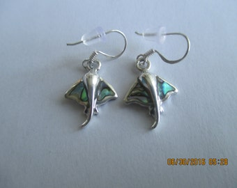 Sting Ray Earrings..Sterling Silver with Paua Shell ...Great Look..New,,Dangle..