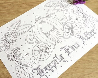 Adult Colouring Page, Fairytale, Wedding Favour
