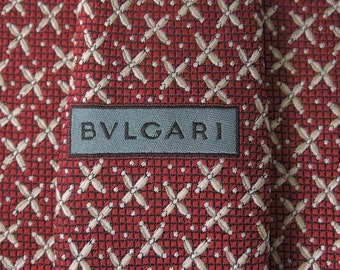 Bvlgari Tie Woven Silk Swirl Geometric Pattern Red Vintage Davide Pizzigoni Designer Dress 7 Fold Necktie Made In Italy