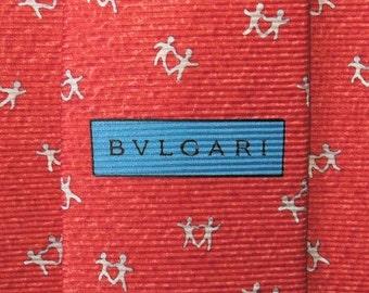 Bvlgari Tie Woven Silk Twin Dance Repeat Pattern Red Vintage Davide Pizzigoni Designer Dress 7 Fold Necktie Made In Italy