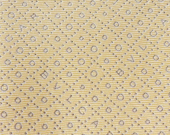 Bvlgari Tie Woven Silk Signature Pattern Yellow Vintage Davide Pizzigoni Designer Dress 7 Fold Necktie Made In Italy