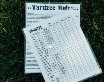 8.5x11 double sided yardzee & yardzee rules score card - scorecard - score sheet - laminated - reusable
