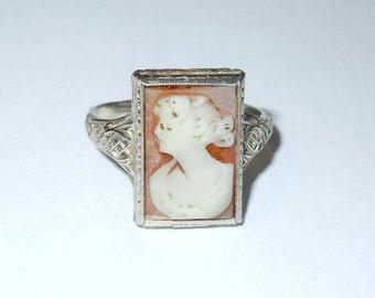 Vintage 14kt White Gold Edwardian Floral Filigree Cameo Fashion Ring