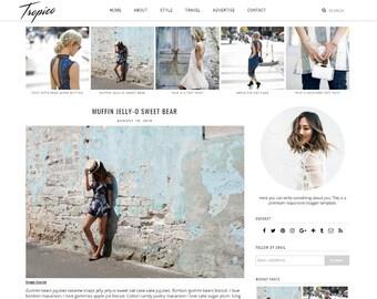 "Premade Blogger Template Responsive Design | Blog Theme ""Tropico"" | Instant Download | Graphic & Web Design"