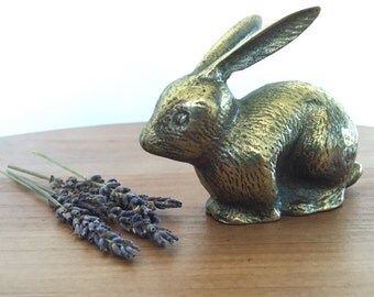 Vintage Brass Bunny, Brass Rabbit Figure, Brass Accents, Woodland