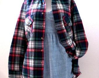 Van heusen flannel etsy for Van heusen plaid shirts