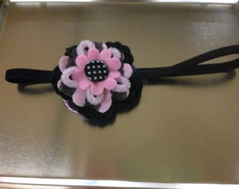 Pink and Black flower on elastic headband
