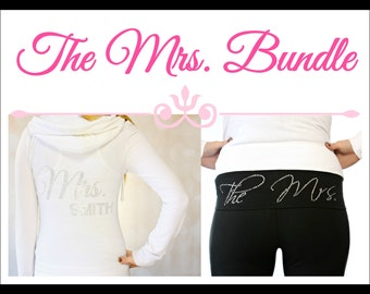 Personalized Mrs Hoodie and The Mrs Yoga Pants. Bride Hoodie. Bride Yoga Pants. Honeymoon. Bridal Shower Gift. Bride Yoga Set.