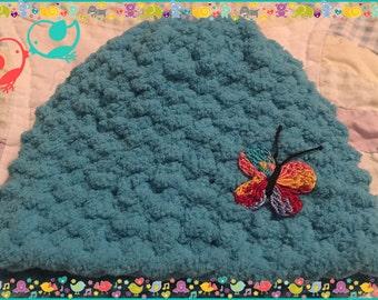 Little Teal Rainbow Baby Butterfly Newborn Knit Hat