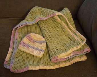 Honeydew Baby Blanket and Hat Set; Green Baby Blanket