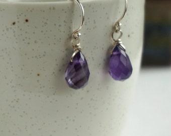 Genuine Amethyst Earrings, Purple Drop Earrings, Sterling Silver Earrings, Nickle Free Earrings, Februbary Birthstone Earrings, b86